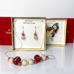 Macy's Holiday Lane JewelrySet and Snowman Brooch